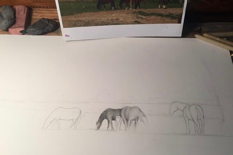 Rainey Dewey Art Horses Sketch