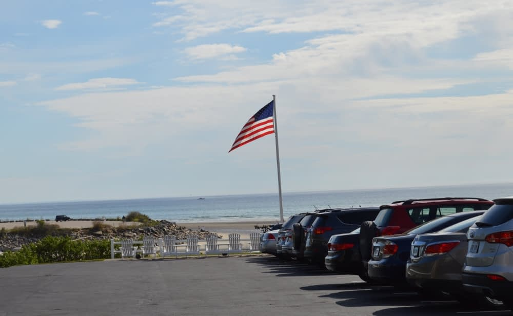 Here's the view from Sea Chambers parking lot with visitors from all over... NY, VT, CT and Canada!