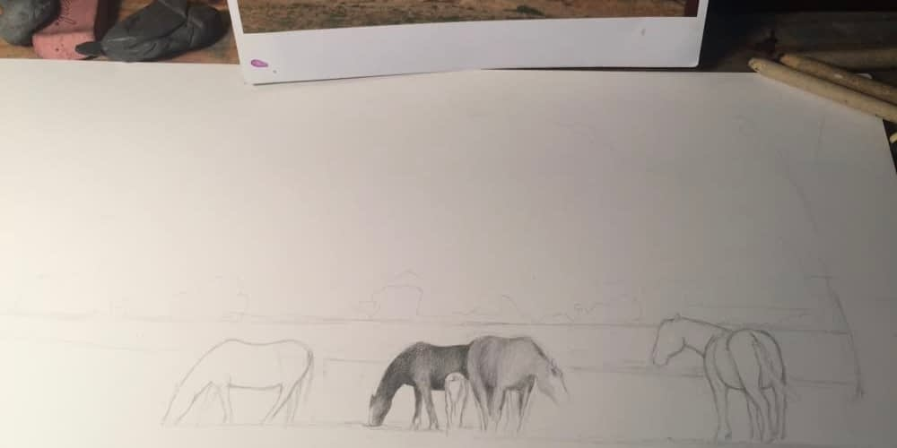 Rainey Dewey Art Horses Sketch