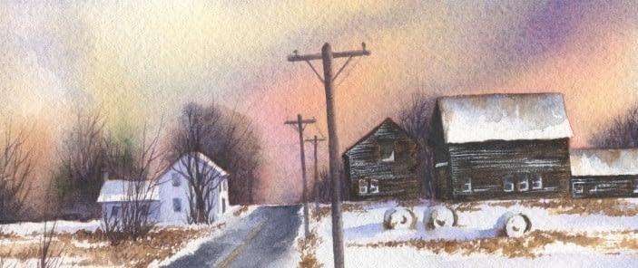 Rainey Dewey Art watercolor barn