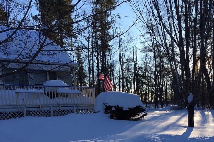 Snowfall and Flag